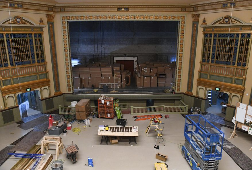 The State Theatre is under renovation on Wednesday, July 15, 2020, in downtown Sioux Falls, S.D. After decades of sitting dormant along Phillips Avenue, and years of working to restore the building, the timeline for opening the State has been delayed, a representative for the theater's management group told the Sioux Falls Business Journal. (Erin Bormett/The Argus Leader via AP)