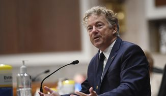 Sen. Rand Paul, R-Ky, speaks during a Senate Health, Education, Labor and Pensions Committee hearing on Capitol Hill in Washington, Tuesday, June 30, 2020. (Kevin Dietsch/Pool via AP)  **FILE**