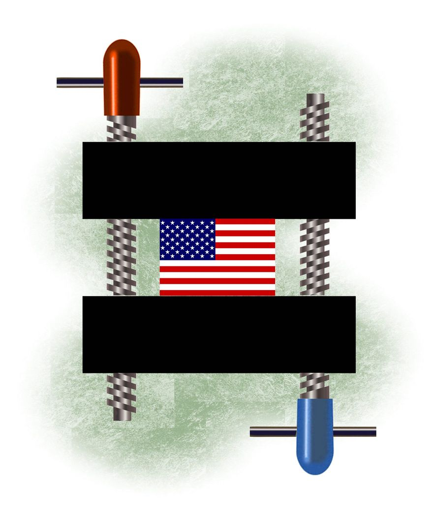 Illustration on equality in America by Alexander Hunter/The Washington Times