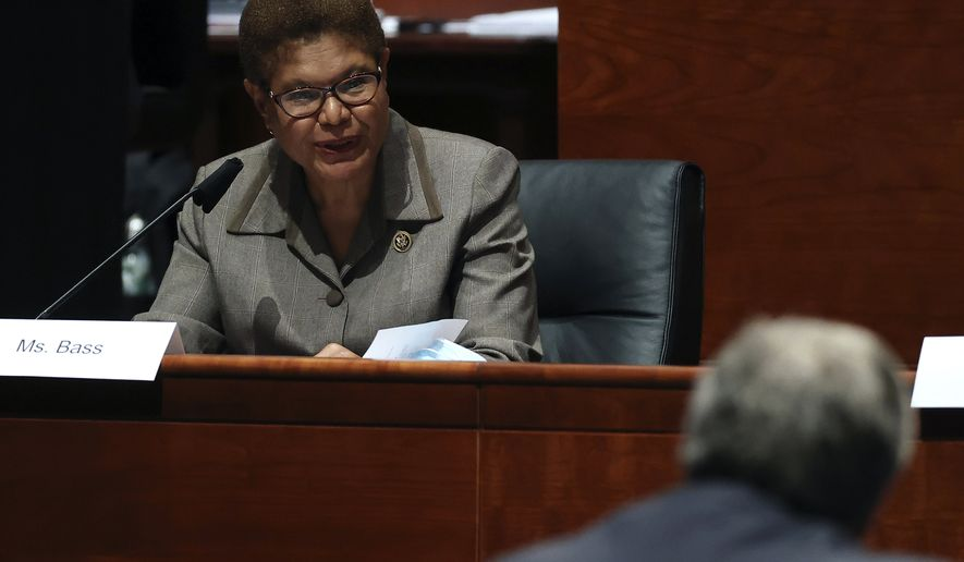 Rep. Karen Bass, D-Calif., questions Attorney General William Barr during a House Judiciary Committee hearing on the oversight of the Department of Justice on Capitol Hill, Tuesday, July 28, 2020 in Washington. (Chip Somodevilla/Pool via AP)