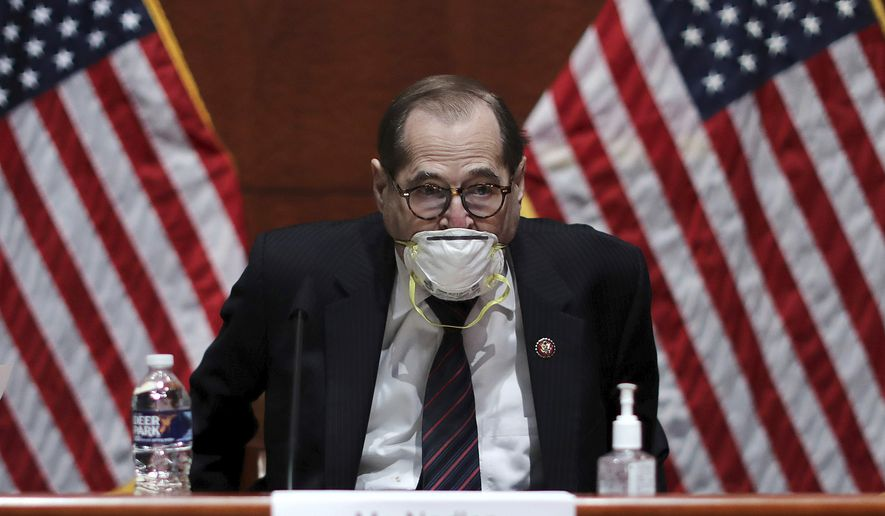 House Judiciary Committee Chairman Jerry Nadler, D-N.Y., arrives for a House Judiciary Committee hearing on the oversight of the Department of Justice on Capitol Hill, Tuesday, July 28, 2020 in Washington. (Chip Somodevilla/Pool via AP)