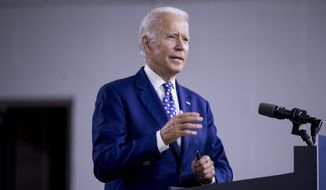 """Democratic presidential candidate former Vice President Joe Biden speaks at a campaign event at the William """"Hicks"""" Anderson Community Center in Wilmington, Del., Tuesday, July 28, 2020. (AP Photo/Andrew Harnik) ** FILE **"""