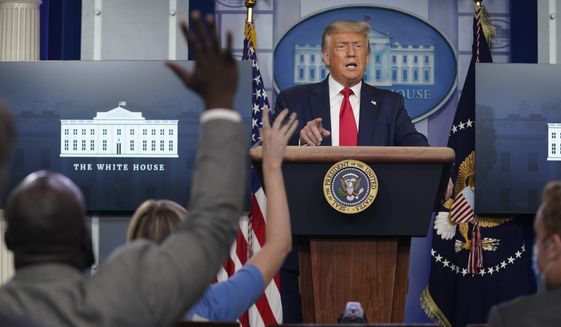 President Donald Trump speaks during a news conference at the White House, Tuesday, July 28, 2020, in Washington. (AP Photo/Evan Vucci)