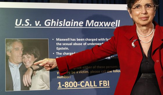 FILE - In this Thursday, July 2, 2020, file photo, Audrey Strauss, Acting United States Attorney for the Southern District of New York, gestures as she speaks during a news conference to announce charges against Ghislaine Maxwell for her alleged role in the sexual exploitation and abuse of multiple minor girls by Jeffrey Epstein, in New York. Prosecutors said in New York on Tuesday, July 28, 2020, that some witnesses in the criminal case against Maxwell may face harassment and intimidation that could be reluctant to cooperate with the government if defense attorneys are allowed to discuss them publicly. (AP Photo/John Minchillo, File)
