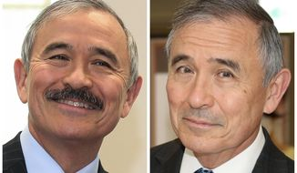 This combination of photos shows U.S. Ambassador to South Korea Harry Harris, left, in a March 4, 2020, photo, and, right in a July 27, 2020, both taken in Seoul, South Korea. Harris has shaved his mildly controversial mustache, saying it was too uncomfortable to keep it while wearing a coronavirus mask amid South Korea's notoriously hot summer. His facial hair had drawn criticism from a small number of online commentators and media, who compared his mustache to those worn by colonial Japanese governors during the country's brutal rule of the Korean Peninsula from 1910 to 1945.(Newsis, Yonhap via AP)
