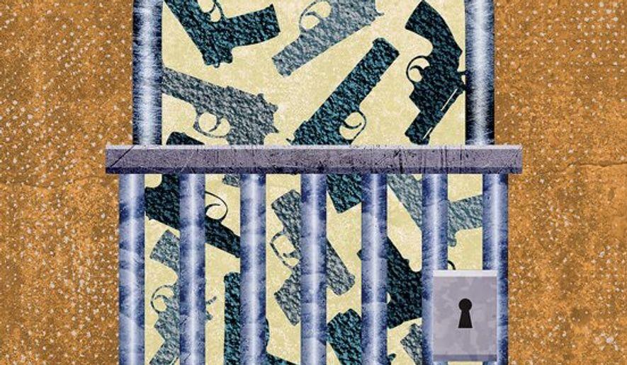 Gun Lockup Illustration by Greg Groesch/The Washington Times
