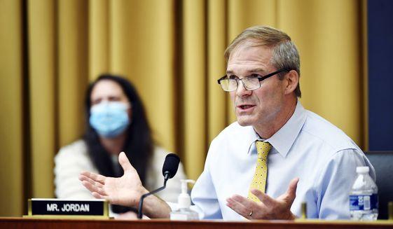 Rep Jim Jordan, D-Ohio, speaks during a House Judiciary subcommittee on antitrust on Capitol Hill on Wednesday, July 29, 2020, in Washington. (Mandel Ngan/Pool via AP) ** FILE **