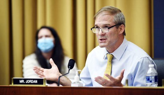 Rep Jim Jordan, D-Ohio, speaks during a House Judiciary subcommittee on antitrust on Capitol Hill on Wednesday, July 29, 2020, in Washington. (Mandel Ngan/Pool via AP)