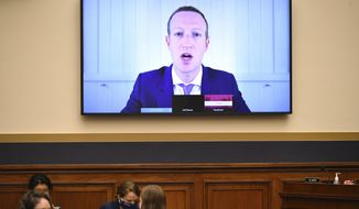 Facebook CEO Mark Zuckerberg testifies remotely during a House Judiciary subcommittee on antitrust on Capitol Hill on Wednesday, July 29, 2020, in Washingon. (Mandel Ngan/Pool via AP)