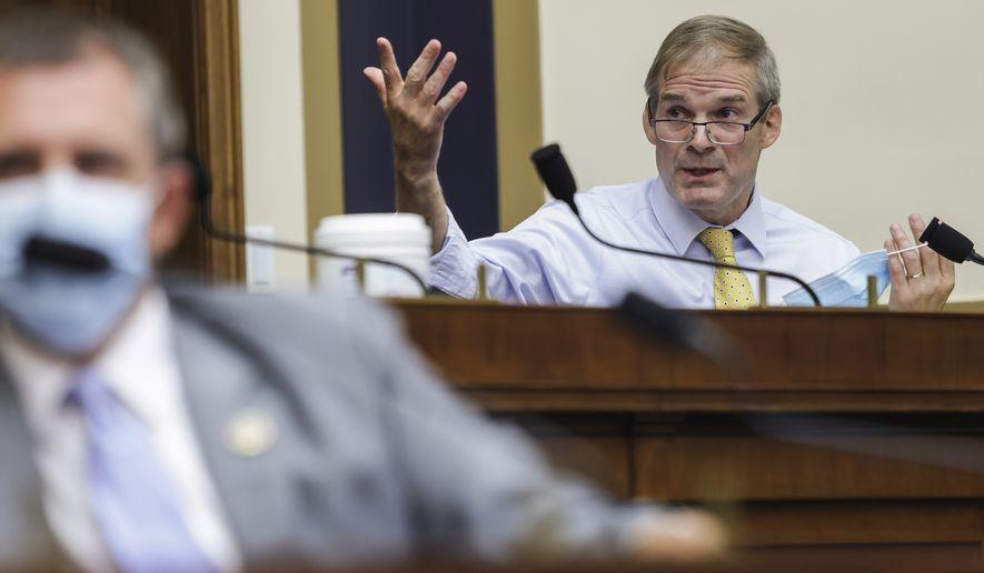 Rep. Jim Jordan, R-Ohio, speaks during a House Judiciary subcommittee hearing on antitrust on Capitol Hill on Wednesday, July 29, 2020, in Washington. (Graeme Jennings/Pool via AP)