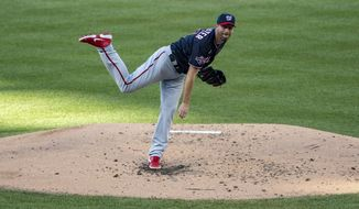 Washington Nationals pitcher Max Scherzer throws off the mound during a game against the Toronto Blue Jays on Wednesday, July 29, 2020 at Nationals Park in Washington, D.C. (Photo by All-Pro Reels)
