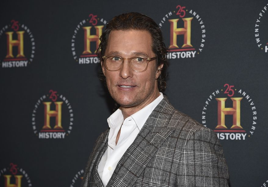 """Actor Matthew McConaughey attends A+E Network's """"HISTORYTalks: Leadership and Legacy"""" on Feb. 29, 2020, in New York. (Photo by Evan Agostini/Invision/AP, File) ** FILE **"""