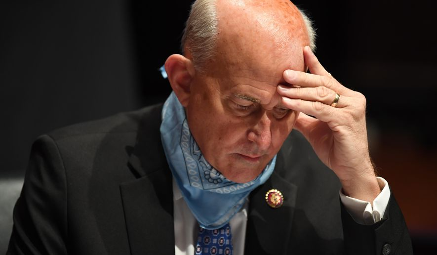 In this file photo, Rep. Louie Gohmert, R-Texas, studies notes during a House Judiciary Committee hearing on the oversight of the Department of Justice on Capitol Hill, Tuesday, July 28, 2020 in Washington. (Matt McClain/The Washington Post via AP, Pool)  **FILE**