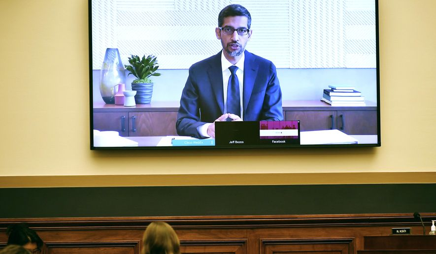 Google CEO Sundar Pichai testifies remotely during a House Judiciary subcommittee on antitrust on Capitol Hill on Wednesday, July 29, 2020, in Washington. (Mandel Ngan/Pool via AP)