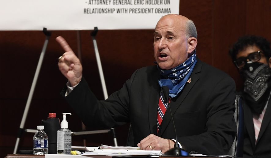 Rep. Louie Gohmert, R-Texas, speaks during a House Judiciary Committee hearing on Capitol Hill in Washington, Wednesday, June 24, 2020, on oversight of the Justice Department and a probe into the politicization of the department under Attorney General William Barr. (AP Photo/Susan Walsh, Pool)