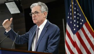 FILE - In this March 3, 2020 file photo, Federal Reserve Chair Jerome Powell speaks during a news conference to discuss an announcement from the Federal Open Market Committee, in Washington.  Federal Reserve officials are grappling this week with the timing and scope of their next policy moves at a time when the raging viral pandemic has weakened the U.S. economy. No major changes are likely when the Fed releases a statement Wednesday, July 29,  after its two-day policy meeting ends and just before Powell holds a news conference.  (AP Photo/Jacquelyn Martin, File)