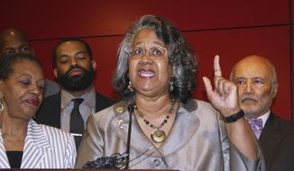 Delegate Cheryl Glenn, a Baltimore Democrat, calls for a special session to approve additional licenses to grow medical marijuana during a news conference April 12, 2017, in Baltimore. The former Maryland state lawmaker has been sentenced to two years in prison for taking bribes for legislative favors. U.S. District Judge Catherine Blake on Wednesday, July 29, 2020, ordered former Del. Glenn to pay $18,750 in restitution. (AP Photo/Brian Witte, File)