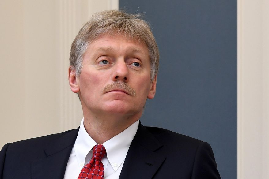 In this Tuesday, April 14, 2020, file photo, Kremlin spokesman Dmitry Peskov attends a video conference with Russian President Vladimir Putin at a situation center in the Kremlin in Moscow, Russia. (Alexei Nikolsky, Sputnik, Kremlin Pool Photo via AP, File)