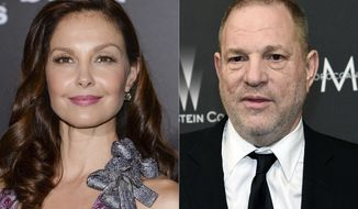 """Ashley Judd attends the premiere of """"The Divergent Series: Insurgent"""" in New York on March 16, 2015, left, and film producer Harvey Weinstein arrives at The Weinstein Company and Netflix Golden Globes afterparty in Beverly Hills, Calif. on March 16, 2015. A federal appeals court on Wednesday revived Judd's sexual harassment lawsuit against Weinstein. The 9th U.S. Circuit Court of appeal found that the producer had power over the actor that should make her able to sue under a California sexual harassment law. (AP Photo)"""