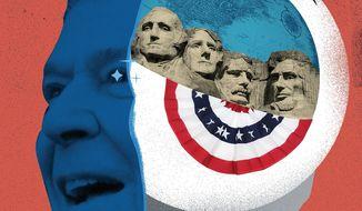 Illustration on informed patriotism by Linas Garsys/The Washington Times