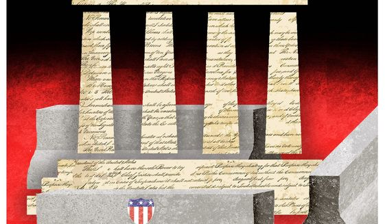 Illustration on the balance of Constitutional rights and Federal force by Alexander Hunter/The Washington Times