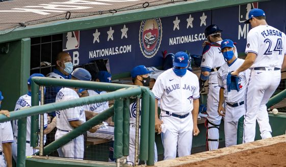 The Toronto Blue Jays were the designated home team for a game against the Washington Nationals on Wednesday, July 29, 2020 at Nationals Park in Washington, D.C. The Blue Jays are not allowed to play in Canada this season due to COVID-19 restrictions and concerns over travel. (Photo by All-Pro Reels)