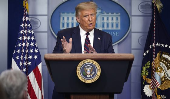 President Donald Trump speaks during a news conference at the White House, Thursday, July 30, 2020, in Washington. (AP Photo/Evan Vucci)