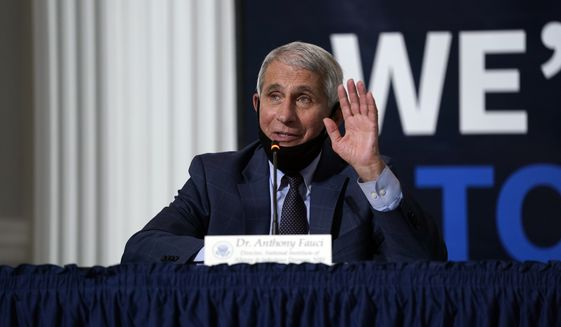 Dr. Anthony Fauci, director of the National Institute of Allergy and Infectious Diseases, speaks during a roundtable on donating plasma at the American Red Cross national headquarters on Thursday, July 30, 2020, in Washington. (AP Photo/Evan Vucci)