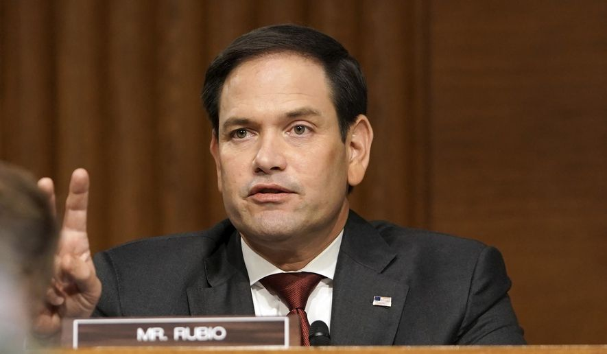 In this file photo, Sen. Marco Rubio, R-Fla., asks a question to Secretary of State Mike Pompeo during a Senate Foreign Relations committee hearing on the State Department's 2021 budget on Capitol Hill Thursday, July 30, 2020, in Washington. (Greg Nash/Pool via AP) ** FILE **