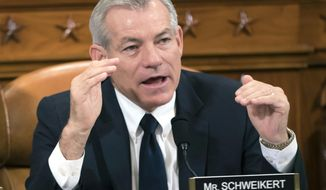 FILE - In this Nov. 8, 2017, file photo, Rep. David Schweikert, R-Ariz., makes a point during a House Ways and Means Committee hearing on Capitol Hill in Washington. Rep. Schweikert has agreed to pay a $50,000 fine and admit to 11 violations to settle a long-running investigation by the U.S. House Ethics Committee it was announced Thursday, July 30, 2020. (AP Photo/J. Scott Applewhite, File)
