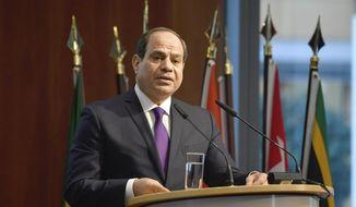"""Egypt's President Abdel Fattah al-Sisi speaks at the """"G20 Investment Summit."""" (John MacDougall/Pool via AP, File)"""