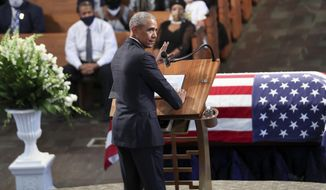 Former President Barack Obama, addresses the service during the funeral for the late Rep. John Lewis, D-Ga., at Ebenezer Baptist Church in Atlanta, Thursday, July 30, 2020. (Alyssa Pointer/Atlanta Journal-Constitution via AP, Pool)