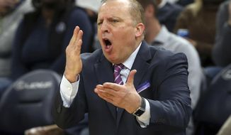 FILE - In this Dec. 3, 2018, file photo, Minnesota Timberwolves head coach Tom Thibodeau complains over a call in the second half half of an NBA basketball game against the Houston Rockets in Minneapolis. Thibodeau is back in New York as the Knicks' new coach. The former NBA Coach of the Year was hired Thursday, July 30,2020, returning to the team he helped lead to the NBA Finals as an assistant coach. (AP Photo/Jim Mone, FIle)