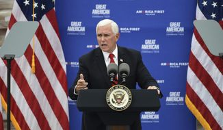 """United States Vice President Mike Pence speaks during a """"Great American Comeback Tour"""" campaign stop at Guy Chemical Co. Inc., in Somerset, Pa., Thursday, July 30, 2020. (John Rucosky/Tribune-Democrat via AP) ** FILE **"""