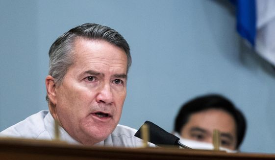 Rep. Jody Hice, R-Ga., questions acting U.S. Park Police Chief Gregory T. Monahan, during a House Natural Resources Committee hearing on actions taken on June 1, 2020, at Lafayette Square, Tuesday, July 28, 2020, on Capitol Hill in Washington. (Bill Clark/Pool via AP) ** FILE **
