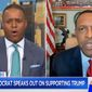 "Georgia state Rep. Vernon Jones, a Democrat who was rebuked by his party earlier this year for supporting the policies of President Trump, erupted during an appearance Wednesday, July 29, 2020, on MSNBC after anchor Craig Melvin asked whether he was being ""compensated"" by the Trump campaign. (screen grab via MSNBC)"