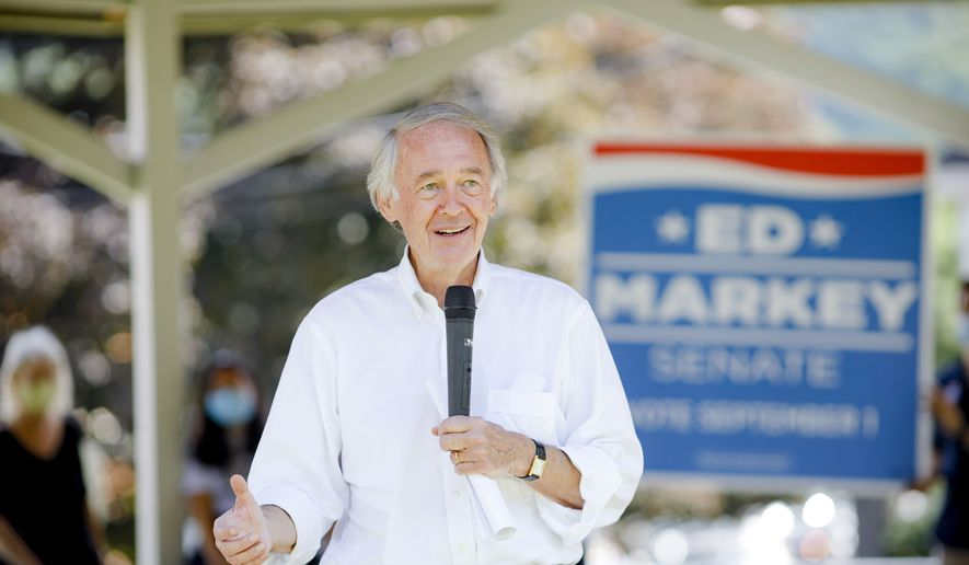 Sen. Ed Markey speaks to supporters in Great Barrington, Mass., during a tour of the Berkshires for his reelection campaign on Friday, July 31, 2020. (Stephanie Zollshan/The Berkshire Eagle via AP) ** FILE **