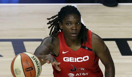 Washington Mystics forward Myisha Hines-Allen (2) during the first half of a WNBA basketball game against the Seattle Storm Thursday, July 30, 2020, in Bradenton, Fla. (AP Photo/Chris O'Meara) ** FILE **