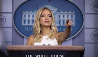 White House press secretary Kayleigh McEnany speaks during a press briefing in the James Brady Press Briefing Room at the White House, Friday, July 31, 2020, in Washington. (AP Photo/Alex Brandon)