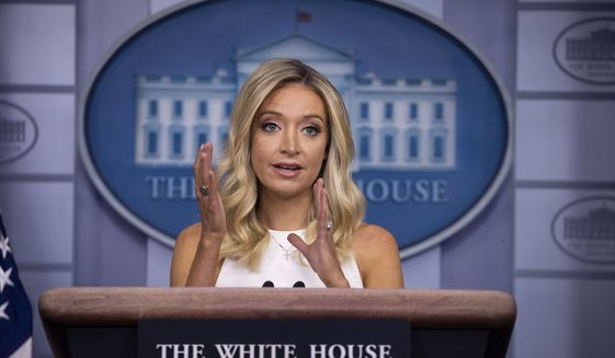 White House press secretary Kayleigh McEnany speaks during a press briefing in the James Brady Press Briefing Room at the White House, Friday, July 31, 2020, in Washington. (AP Photo/Alex Brandon)