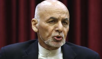 In this March 1, 2020, file photo, Afghan President Ashraf Ghani speaks during a news conference at the presidential palace in Kabul, Afghanistan. (AP Photo/Rahmat Gul, File)