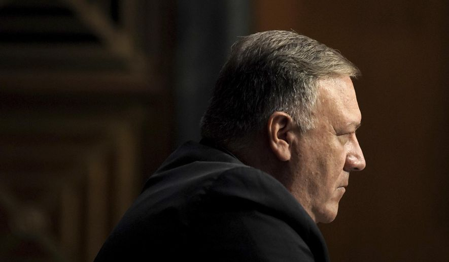 Secretary of State Mike Pompeo appears during a Senate Foreign Relations Committee hearing on the State Department's 2021 budget on Capitol Hill Thursday, July 30, 2020, in Washington. (Greg Nash/Pool via AP) **FILE**