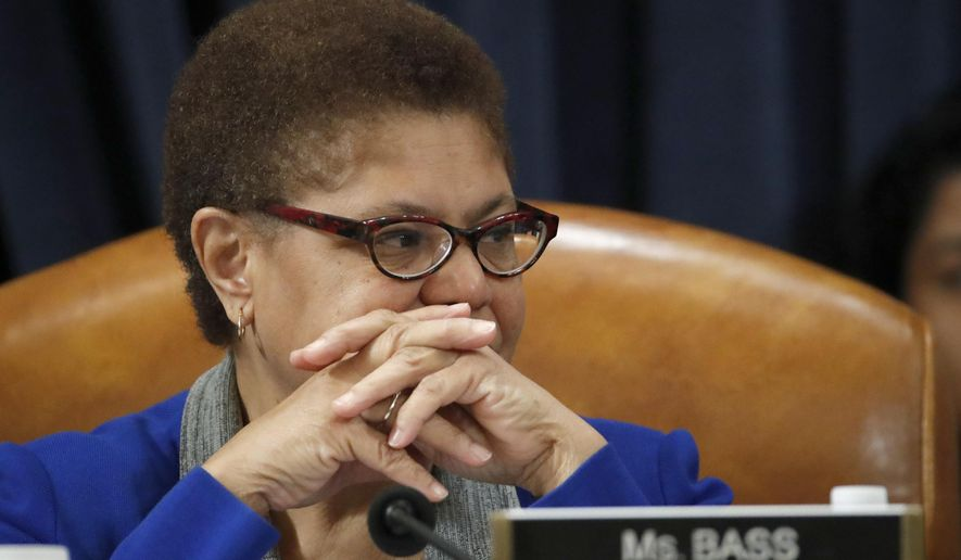 In this Dec. 12, 2019, photo Rep. Karen Bass, D-Calif., listens during a House Judiciary Committee markup of the articles of impeachment against President Donald Trump, on Capitol Hill in Washington. (AP Photo/Alex Brandon) **FILE**