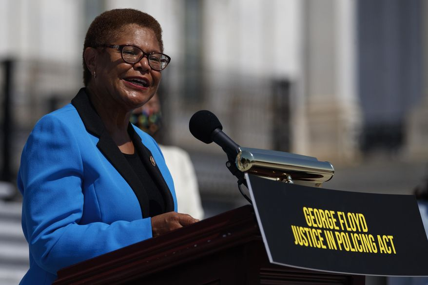 In this June 25, 2020, file photo Rep. Karen Bass, D-Calif., speaks during a news conference on the House East Front Steps on Capitol Hill in Washington ahead of the House vote on the George Floyd Justice in Policing Act of 2020. (AP Photo/Carolyn Kaster, File)