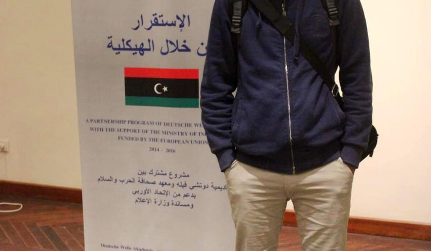 This photo provided by Reda Fhelboom shows Ismail Bouzreeba al-Zway in Tunis in July 2015.   A military court in eastern Libya has sentenced  al-Zway, a local photojournalist to 15 years in prison on vague terrorism-related charges, prompting an outcry Friday, July 31, 2020 from human rights groups. The verdict sent a chilling message, local advocates said, underscoring the perils that journalists must navigate in east Libya, where military commander Khalifa Hifter has moved to quash all dissent  and more broadly in a war-torn country overrun with fractious militias. (Reda Fhelboom via AP)