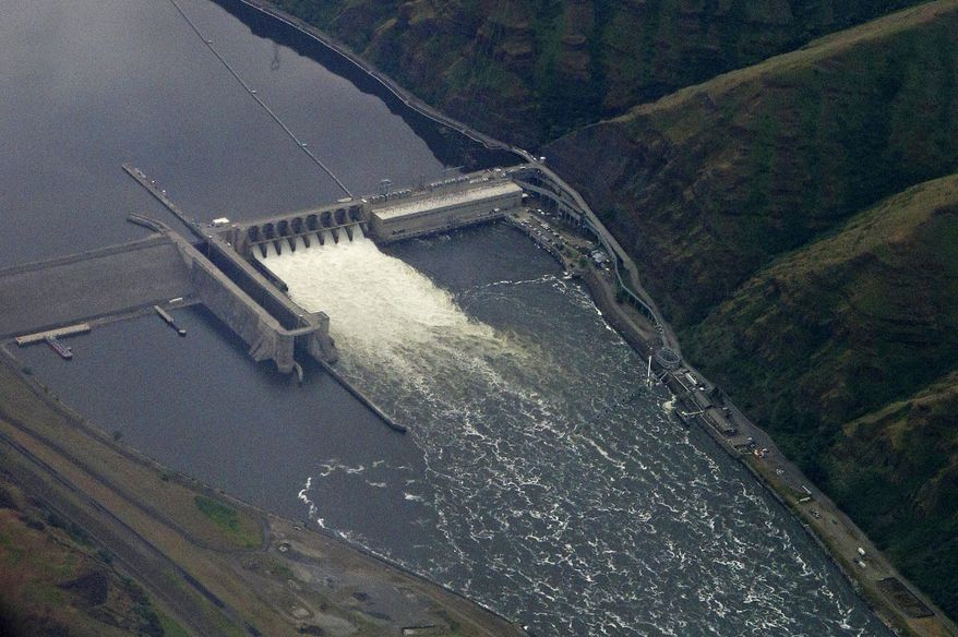 In this May 15, 2019, file photo, the Lower Granite Dam on the Snake River is seen from the air near Colfax, Washington. The federal government said Friday, July 31, 2020, four giant dams on the Snake River in Washington state will not be removed to help endangered salmon migrate to the ocean. (AP Photo/Ted S. Warren, File)