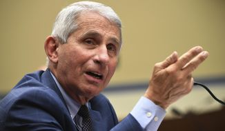 Dr. Anthony Fauci, director of the National Institute for Allergy and Infectious Diseases, speaks during a House Subcommittee on the Coronavirus crisis hearing, Friday, July 31, 2020, on Capitol Hill in Washington. (Kevin Dietsch/Pool via AP) ** FILE **