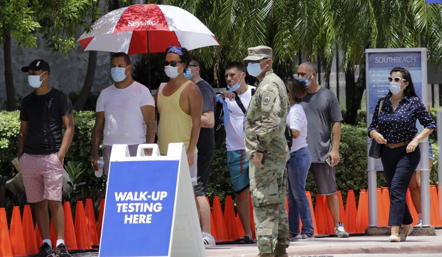 FILE - In this June 30, 2020, file photo, people wait in line at a walk-up testing site for COVID-19 during the new coronavirus pandemic, in Miami Beach, Fla. As coronavirus cases surge in hard-hit Florida, so do the turnaround times for test results. (AP Photo/Lynne Sladky)