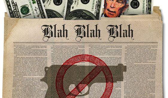 Illustration on media bias against guns by Greg Groesch/The Washington Times
