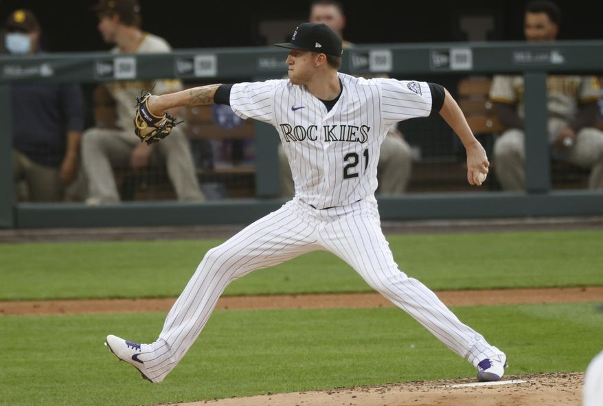 Colorado Rockies starting pitcher Kyle Freeland works against the San Diego Padres during the third inning of a baseball game Saturday, Aug. 1, 2020, in Denver. (AP Photo/David Zalubowski)